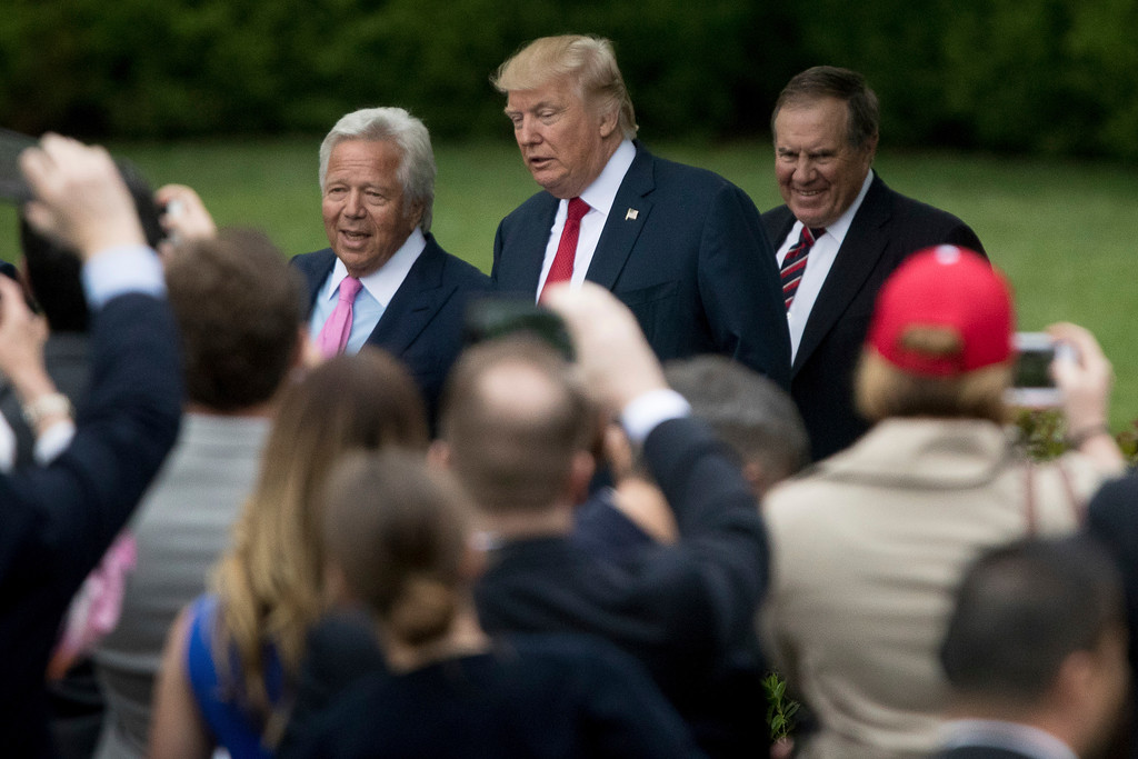 . From left, New England Patriots owner Robert Kraft, President Donald Trump, and New England Patriots head coach Bill Belichck arrive  on the South Lawn of the White House in Washington, Wednesday, April 19, 2017, for a ceremony where the president honored the Super Bowl Champion New England Patriots for their Super Bowl LI victory. (AP Photo/Andrew Harnik)
