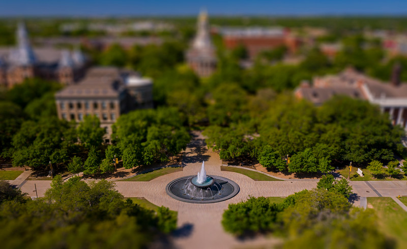 Rosenbalm Fountain - Pat Neff Hall - Traditions Plaza - 5th Street - miniature, drone, aerial