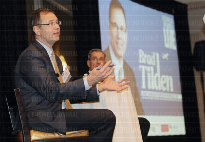 "Brad Tilden, Alaska Airlines chief executive officer, speaks at the Puget Sound Business Journal ""Live"" event in Seattle, Washington"
