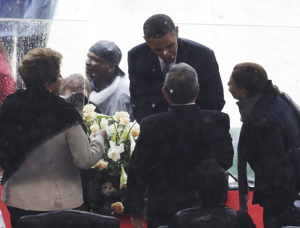 ". <p><b> President Obama had tongues wagging when he shook hands with this longtime nemesis and anti-American demagogue while attending Nelson Mandela�s funeral � </b> <p> A. Raul Castro <p> B. Hugo Chavez <p> C. Jimmy Carter <p><b><a href=\' http://www.foxnews.com/politics/2013/12/10/obama-shakes-raul-castro-hand-at-mandela-service/\' target=""_blank\"">HUH?</a></b> <p>    (AP Photo/Markus Schreiber)"