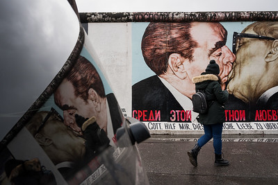 "Reflection of ""The Kiss"" at The Berlin Wall."