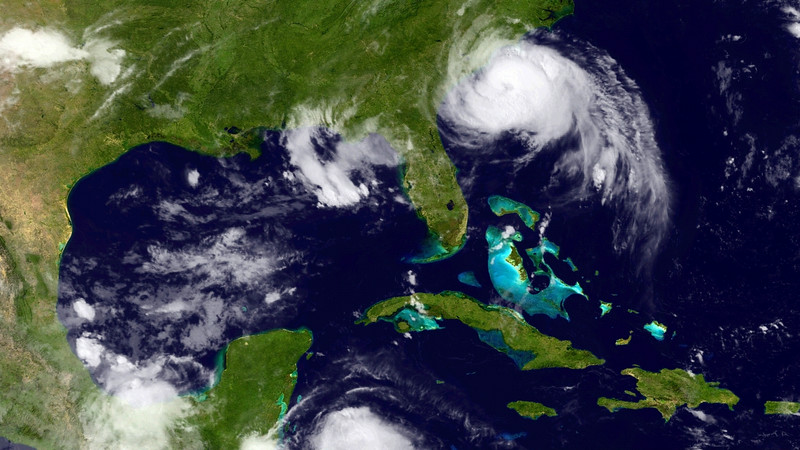 . In this handout provided by the National Oceanic and Atmospheric Administration (NOAA), Hurricane Arthur moves up the U.S. East Coast on July 3, 2014. According to reports, Air Force Reserve Hurricane Hunter aircraft indicate that Arthur has reached hurricane strength and the official forecast shows the center of Arthur moving very close to the North Carolina Outer Banks late tonight and early July 5, 2014. Arthur should then accelerate northeastward offshore of the mid-Atlantic states and the northeastern U.S. July 5 and move into the Canadian Maritimes by July 6, 2014 before turning northward.  (Photo by NOAA via Getty Images)