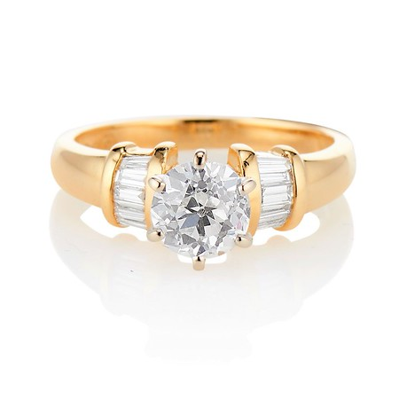 1.26ctw Old European Cut and Baguette Ring