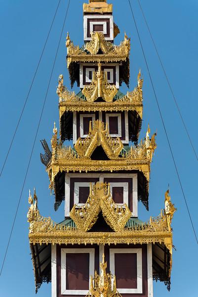 Detail of ornate roof, Shwedagon Pagoda, Yangon (Rangoon), Myanmar (Burma)