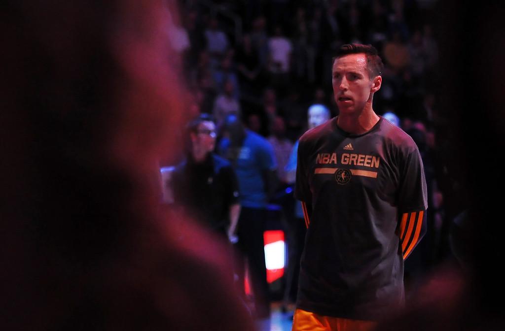 . Los Angeles Lakers\' Steve Nash prior to a NBA basketball game against the Dallas Mavericks in Los Angeles, Calif., on Friday, April 4, 2014.  (Keith Birmingham Pasadena Star-News)