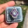 2.27ct (est) Art Deco Old European Cut Diamond with Amethyst Halo Ring 17