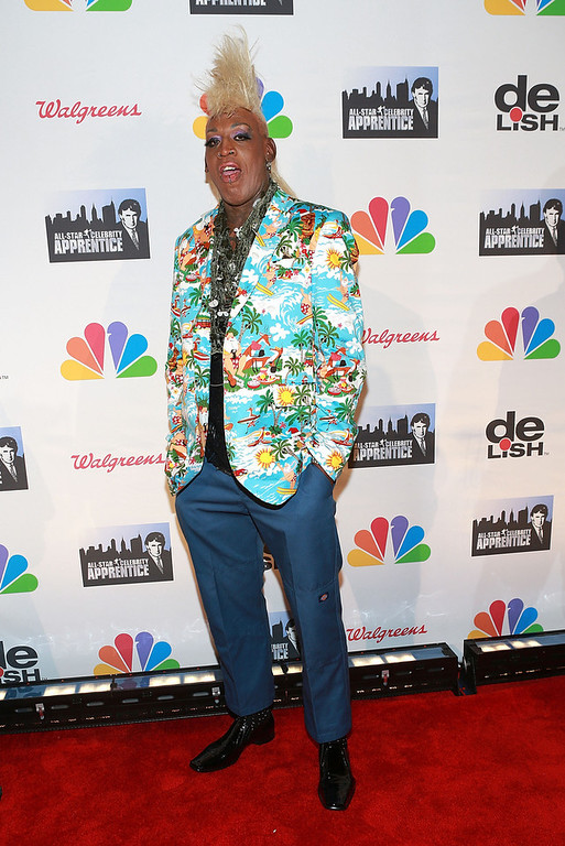 """. Dennis Rodman attends \""""All Star Celebrity Apprentice\"""" Finale at Cipriani 42nd Street on May 19, 2013 in New York City.  (Photo by Robin Marchant/Getty Images)"""