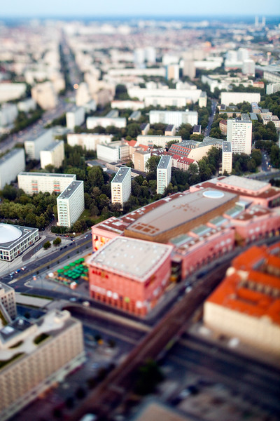 Aerial view from the TV Tower of the former East Berlin around Alexanderstrasse area, Germany. Tilted lens used for a shallower depth of field and to create, combined with the aerial view, a miniaturization effect.