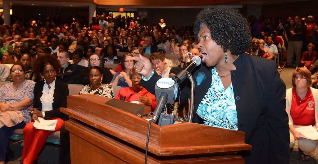 . Photos by Tom Kelly IV Linda Lavender Norris, a parent speaks during the Coatesville Area School District School Board Meeting, which was held Tuesday night September 24, 2013 at the 9/10 center in Caln Township.