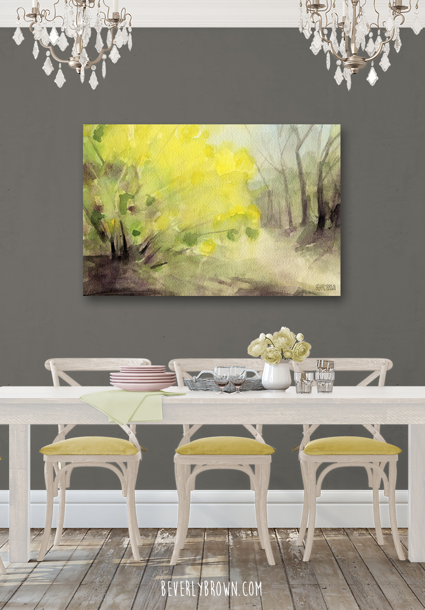 Forsythia landscape canvas print in a grey and white dining room.