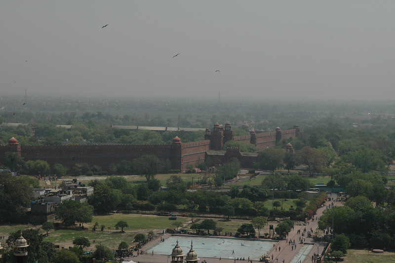 Delhi: Red Fort as seen from the Jama Masjid Mosque.
