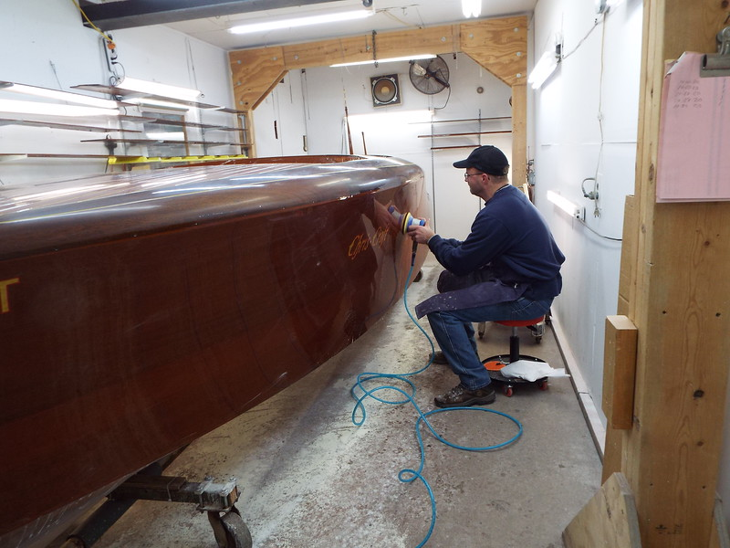 Wet sanding the port side.