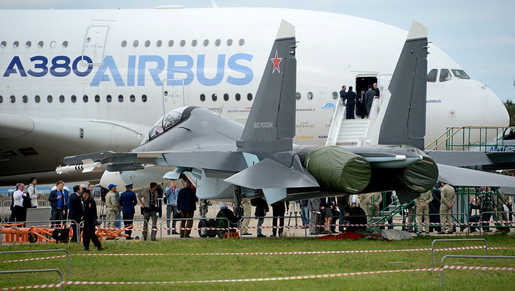 . An Airbus A380 aircraft is seen during the International Aviation and Space Show MAKS-2013 on August 27, 2013  in Zhukovsky, outside Moscow. AFP PHOTO/KIRILL  KUDRYAVTSEV/AFP/Getty Images