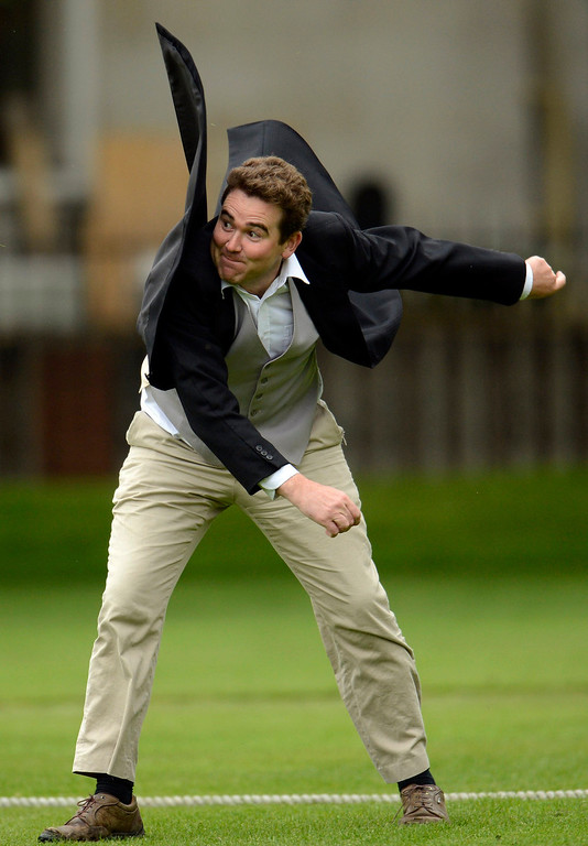 . Andrew Miller throws the ball during a Victorian Cricket match to commemorate the 150th anniversary of Wisden Cricketers\' Almanack  at Vincent Square in London May 29, 2013. REUTERS/Philip Brown