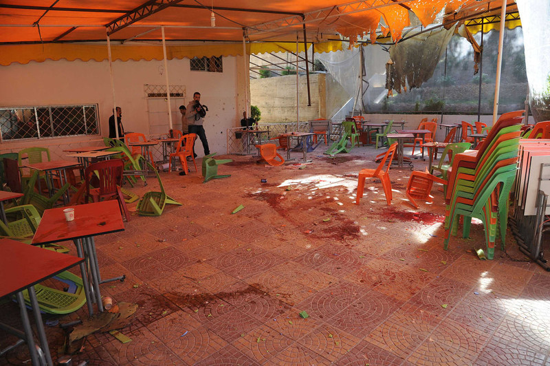 . A view shows debris and blood after mortar bombs landed on the canteen of Damascus University\'s College of Architecture, March 28, 2013 in this handout photograph distributed by Syria\'s national news agency SANA.Twelve Syrian students were killed on Thursday when rebel mortar bombs landed on the canteen of Damascus University\'s College of Architecture, state-run media said. Al-Ikhbariya television showed images of doctors pumping the chests of at least two young men and blood splattered on the floor of what appeared to be an outdoor canteen. REUTERS/SANA/Handout