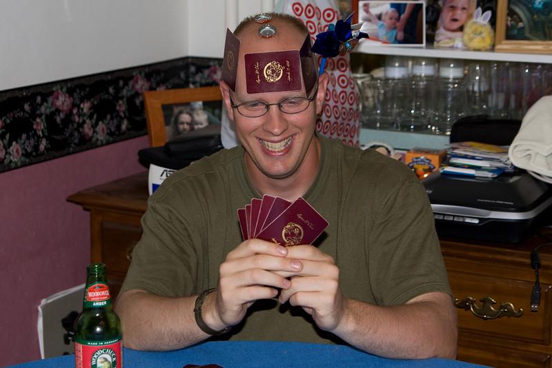 Jake wearing his playing cards