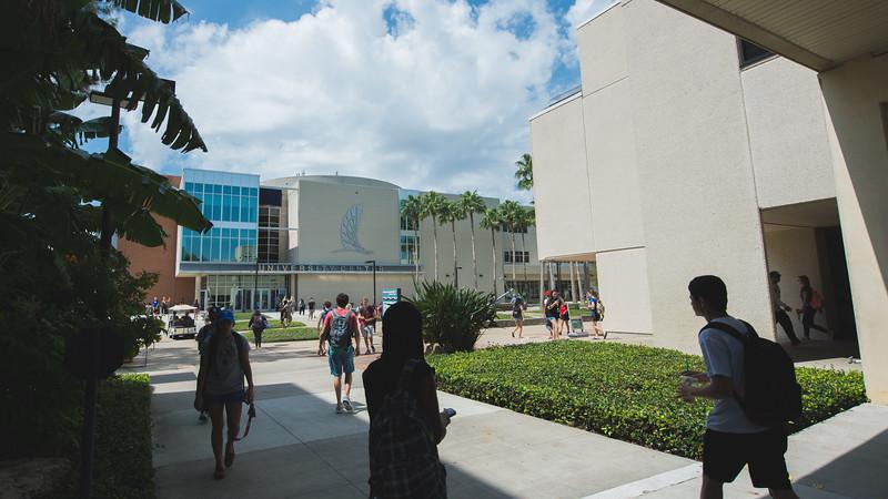 Students make their way around campus.