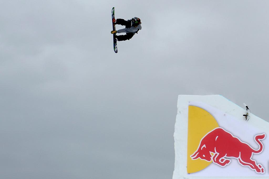 . ASPEN, CO. - JANUARY 24: Halldor Helgason hits a jump during the men\'s Snowboard Slopestyle elimination. Men\'s Snowboard Slopestyle elimination X Games Aspen Buttermilk Mountain Aspen January 24, 2013. (Photo By AAron Ontiveroz / The Denver Post)