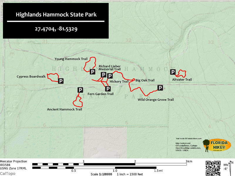 Highlands Hammock State Park Trail Map