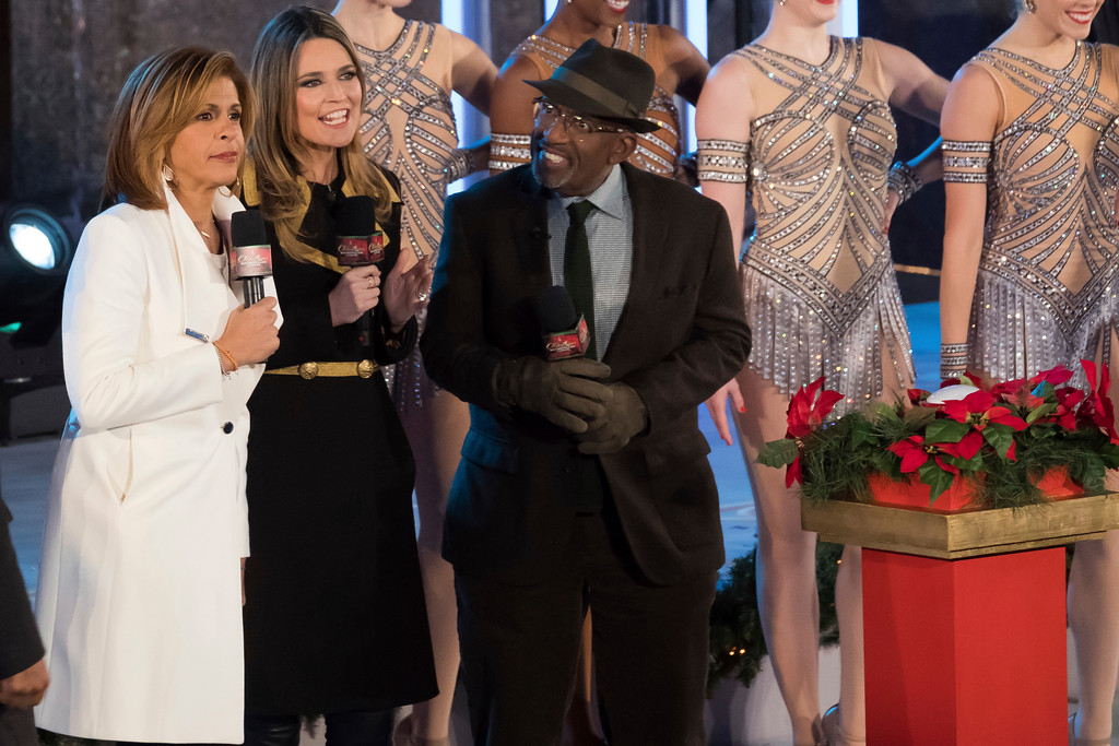 . Hoda Kotb, from left, Savannah Guthrie and Al Roker appear during the 85th annual Rockefeller Center Christmas Tree lighting ceremony on Wednesday, Nov. 29, 2017, in New York. (Photo by Charles Sykes/Invision/AP)