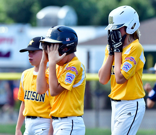 8/9/2019 Mike Orazzi | Staff Connecticut's Gavin Doyle (17) and Chase Geremia (13) after a 4-0 loss to Rhode Island during the semi-final in the New England Regional Baseball game at Breen Field in Bristol on Friday.