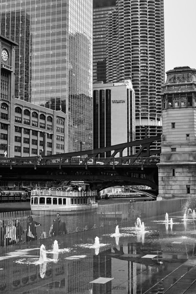 Chicago River Reflections BW Summer.jpg