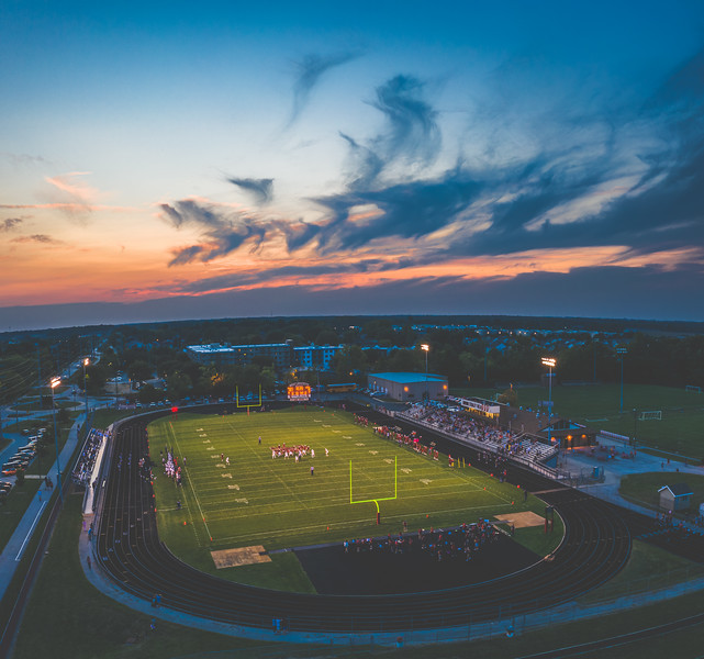 The sun sets on West Lafayette football as they take on Central Catholic on September 11th, 2020
