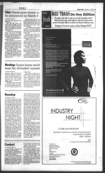 Daily Trojan, Vol. 142, No. 20, February 07, 2001