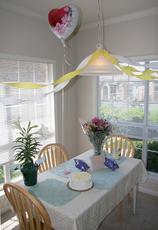 What Jenn & Tim saw when they entered Sara & Peters apartement, Sunday.  The Anniversary party was a total surprise!