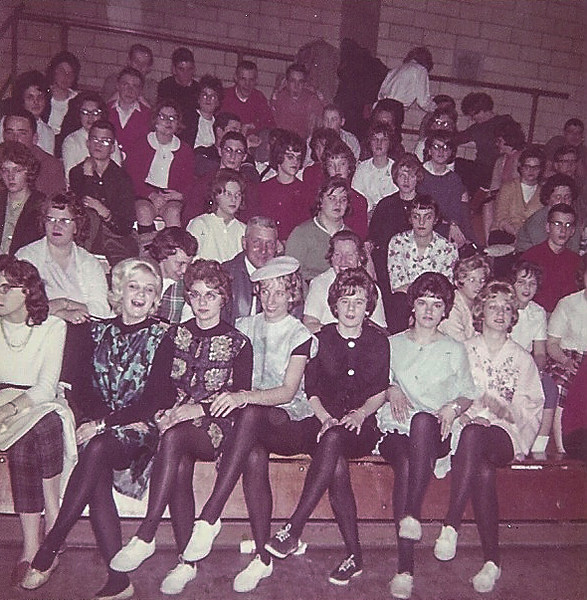 """From Luci, """"We were the cheerleaders at the sr. boy/girl basketball game for one half. The other half we played. I scored the first point, I do remember that. :o)  Can't imagine how.  Lotta leg for 1963 ;-)"""