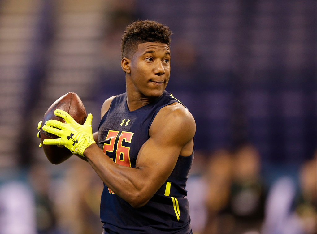 . East Carolina wide receiver Zay Jones runs a drill at the NFL football scouting combine in Indianapolis, Saturday, March 4, 2017. (AP Photo/Michael Conroy)
