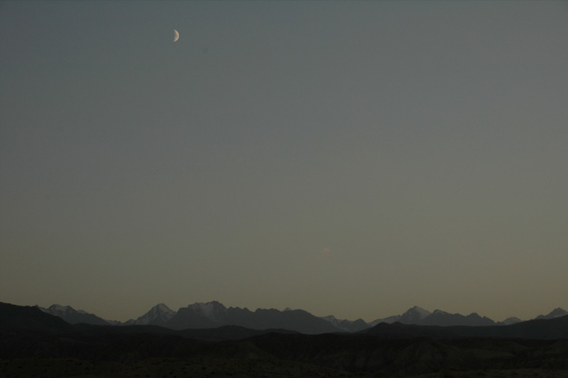 Waning Moon in Sky - Manzhyly, Kyrgyzstan