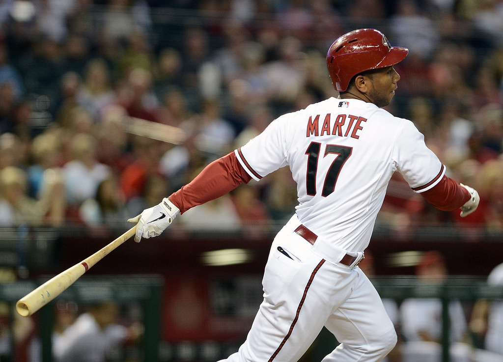 . PHOENIX, AZ - APRIL 26:  Alfredo Marte #17 of the Arizona Diamondbacks hits an RBI single against the Colorado Rockies in the second inning at Chase Field on April 26, 2013 in Phoenix, Arizona.  (Photo by Jennifer Stewart/Getty Images)