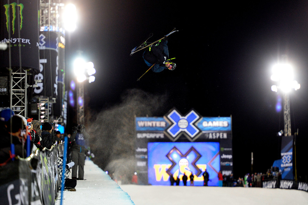 . David Wise en route to winning a third straight gold medal during the men\'s ski halfpipe final. X Games Aspen at Buttermilk on Friday, January 24, 2014. (Photo by AAron Ontiveroz/The Denver Post)