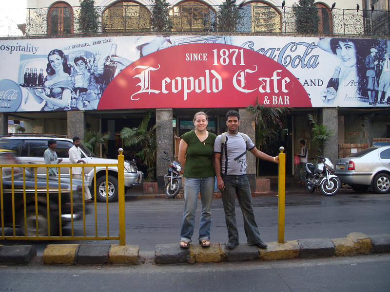 Cheryl and Dilip in front of Leopold Cafe