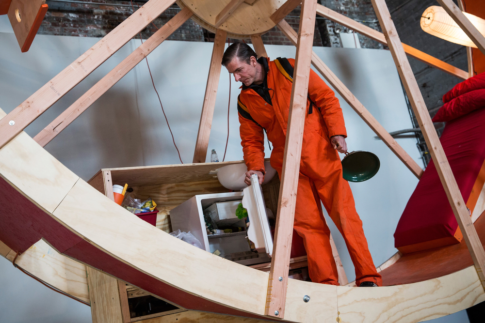 Description of . Alex Schweder, a professor, designer and artist, lives in the art installation piece titled,