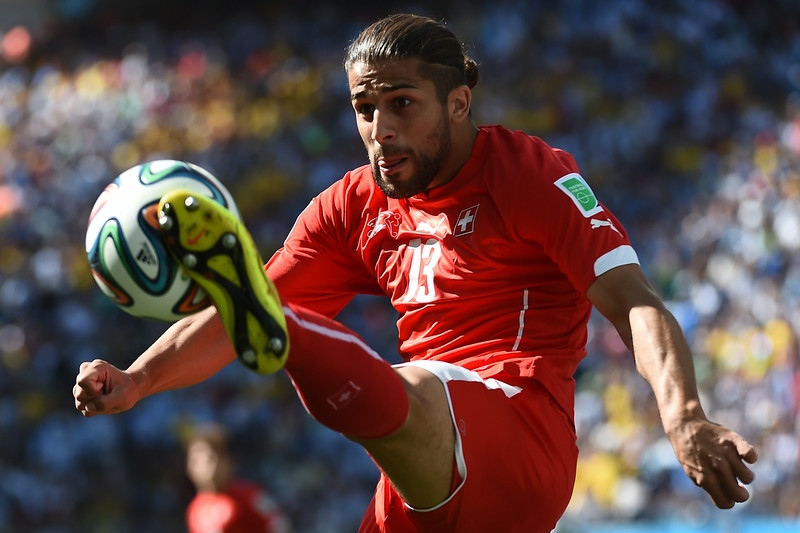 . Switzerland\'s defender Ricardo Rodriguez controls the ball during the Round of 16 football match between Argentina and Switzerland at the Corinthians Arena in Sao Paulo during the 2014 FIFA World Cup on July 1, 2014. (ANNE-CHRISTINE POUJOULAT/AFP/Getty Images)