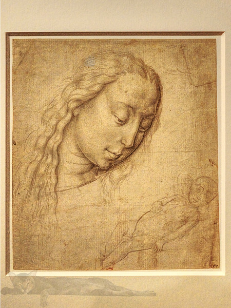 Etching - madonna and Child