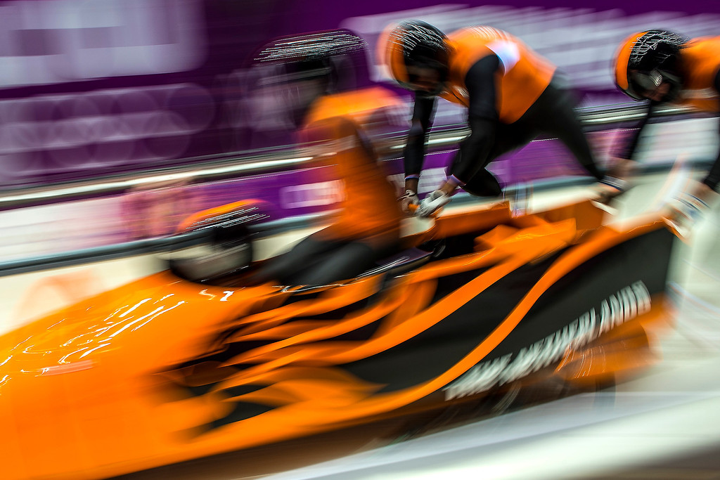 . The Netherlands team competes in the four-man bobsled at Sanki Sliding Center during the 2014 Sochi Olympics Saturday February 22, 2014. They are currently in 13th place with a time of 55.55.  (Photo by Chris Detrick/The Salt Lake Tribune)