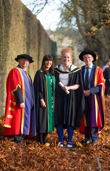02/11/2016. Waterford Institute of Technology (WIT) Conferring Ceremonies November 2016:  Pictured are Dr Derek O'Byrne, Registrar WIT, Laura Keane, Head Of Student Life and Learning WIT, Aishling O'Toole from Carlow who graduated with an MA in Teaching and Learning in Further and Higher Education and Prof. Willie Donnelly President of WIT. Picture: Patrick Browne