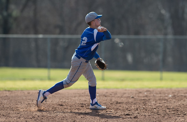 04/10/19 Wesley Bunnell | Staff Bristol Eastern baseball defeated New Britain in a home game on Wednesday afternoon. Shortstop Anthony Marrotti (2) throws to first base for the final out.