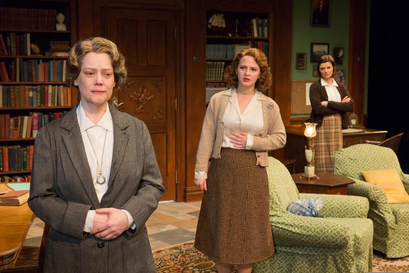 Kellie Overbey, Emily Walton, and Mary Bacon in WOMEN WITHOUT MEN by Hazel Ellis. Photo: Richard Termine.