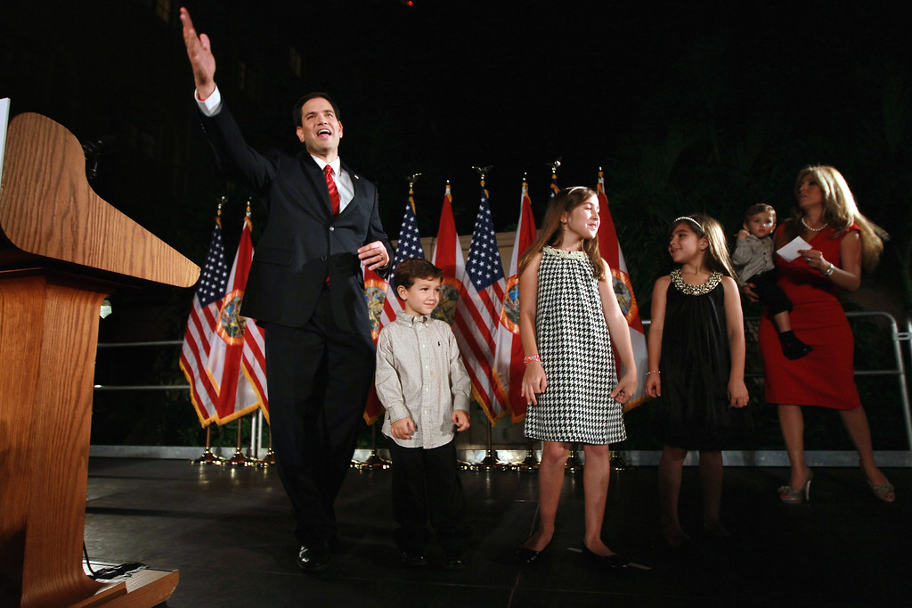 ". (L-R) Republican nominee for Florida U.S. Senator Marco Rubio stands with his family, Anthony Rubio, Amanda Rubio, Daniella Rubio and Jeanette Rubio, who is holding Dominic Rubio during his ""Reclaim America Victory Celebration\"" at the Biltmore Hotel on November 2, 2010 in Coral Gables, Florida. .  (Photo by Joe Raedle/Getty Images)"