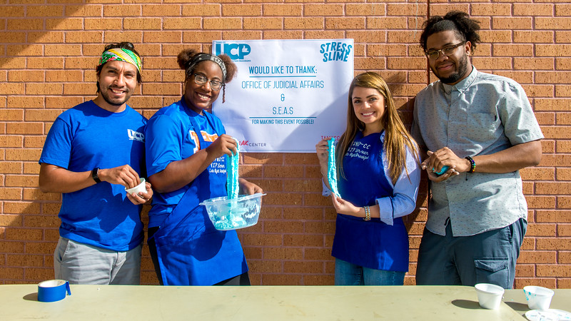UC Staff and Student workers table for the Stress Slime