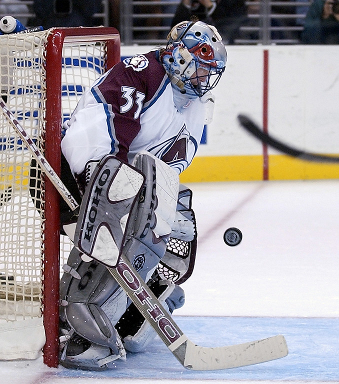. Colorado Avalanche\'s Patrick Roy blocks a shot against the Los Angeles Kings during the second period Saturday, Jan. 26, 2002, in Los Angeles. (AP Photo/Mark J. Terrill)
