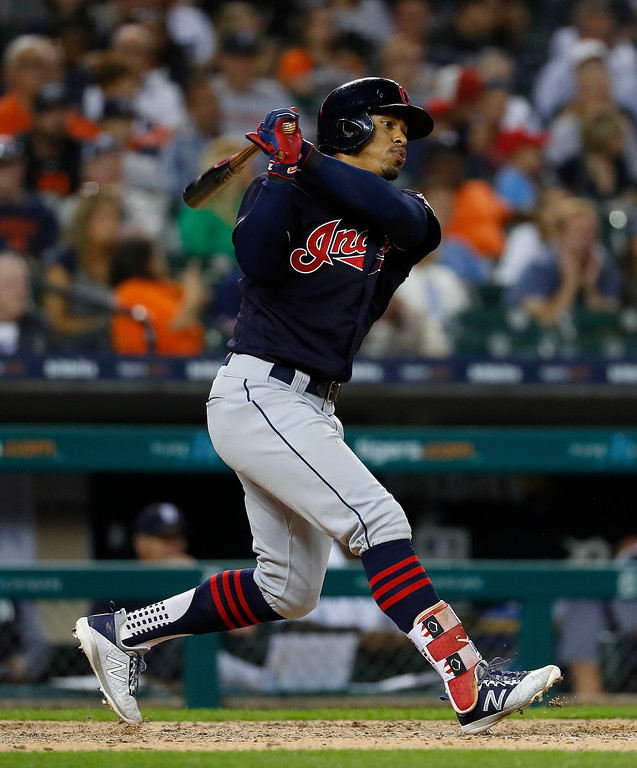 . Cleveland Indians\' Francisco Lindor hits a solo home run against the Detroit Tigers in the ninth inning of a baseball game in Detroit, Friday, July 27, 2018. (AP Photo/Paul Sancya)