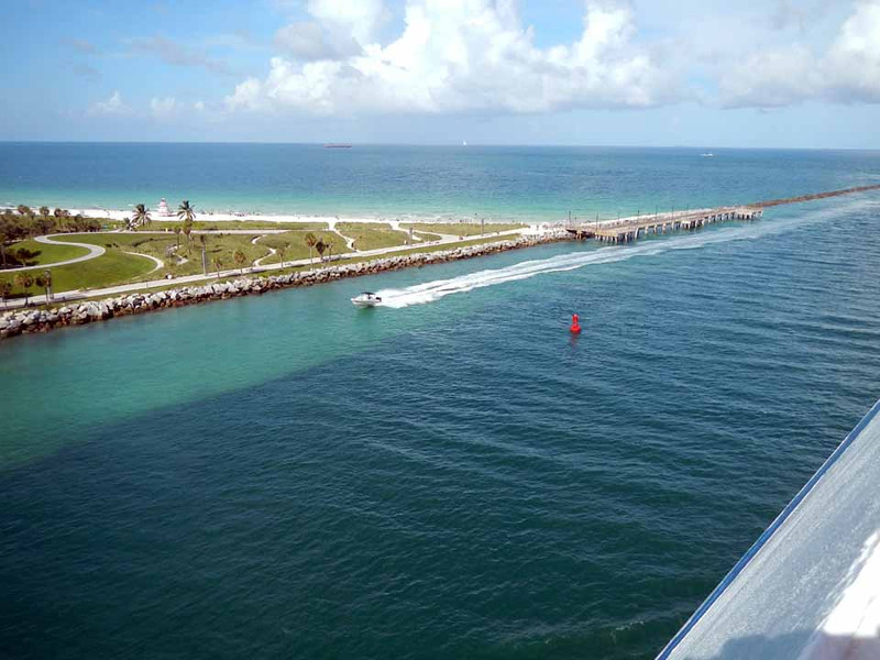 Approaching open water after leaving Miami.