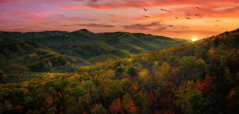 Sunset in the hills of the Smokies