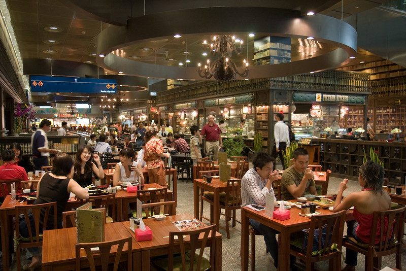 Hawker (food) centre in shopping mall