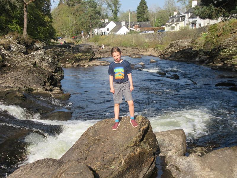 Heroic adventurer at the Falls of Dochart